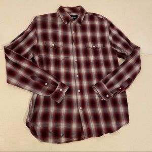 HUF Flannel Plaid Long Sleeve Button Up Shirt